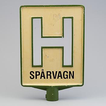HÅLLPLATSSKYLT, aluminium, 1900-talets mitt.