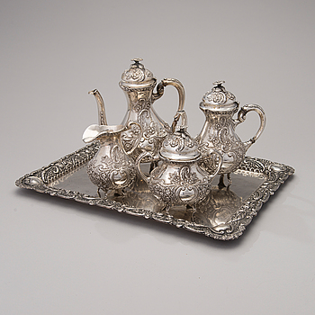 KAFFE- och TESERVIS, 5- delar, silver, 1900-tal.