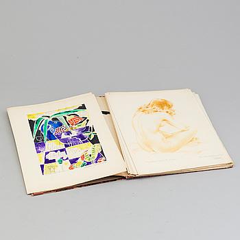 BOK MED ORIGINALKONSTVERK av bl a Evert Taube, Stellan Mörner, Staffan Hallström m fl. Given till Ernst Åkerbladh 1950.