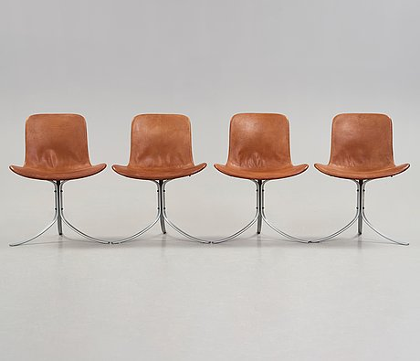 Poul kjaerholm, a set of four 'pk-9' brown leather and steel chairs, e kold christensen, denmark 1960's.