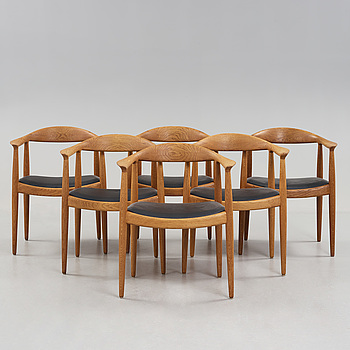 A set of six Hans J Wegner oak 'The Chair', Johannes Hansen, Denmark.