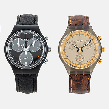 SWATCH, Chrono x 2 st. kronograf, armbandsur, 37,3 mm,