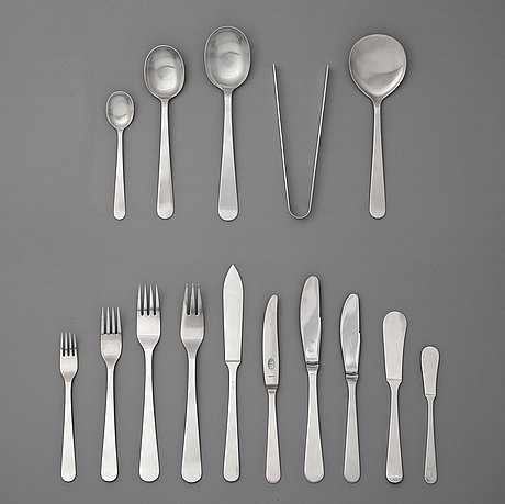 Wiwen nilsson, a set of 142 pieces of sterling and stainless steel flatware, lund 1938-1965.