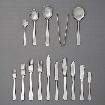91. Wiwen Nilsson, a set of 142 pieces of sterling and stainless steel flatware, Lund 1938-1965.