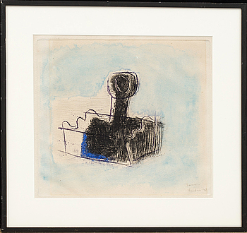 JEAN FAUTRIER, monotype in colours, signed and dated (19)48.