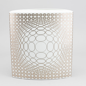 VICTOR VASARELY, A VICTOR VASARELY PORCELAIN VASE BY ROSENTHAL, Limited Edition no 34/100.