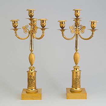 KANDELABRAR, ett par, Empire, Sverige, tidigt 1800-tal.