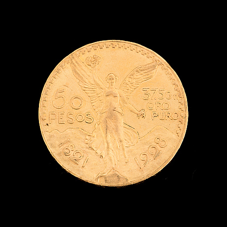 50 peso gold mexico coin, 1921-1928. weight ca 42 grams.