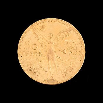 GULDMYNT, 50 Pesos, Mexico 1921-1928. Ca 42 gram.