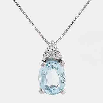 HÄNGE, med akvamarin och tre briljantslipade diamanter totalt ca 0.10 ct.