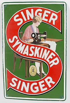 """EMALJSKYLT, """"Singer Symaskiner"""", 1900-talets första hälft."""
