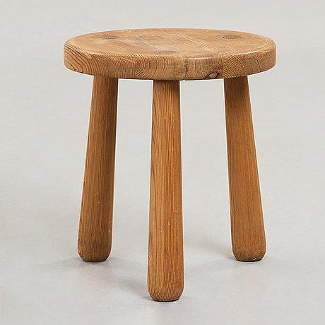 Axel einar hjorth, a stained pine 'utö' stool, nordiska kompaniet, sweden, 1930's.