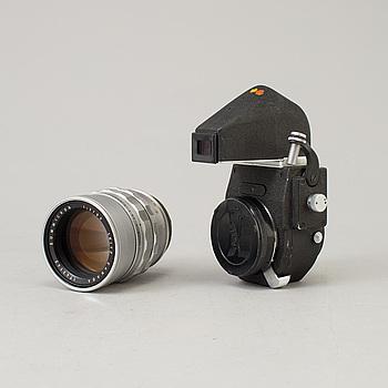 LEICA CAMERA AG (ERNST LEITZ), a Chrome Leica Summicron 1:2/90 no 1743142, formgivet av Walter Mandler, Leitz Canada. Med Visoflex.