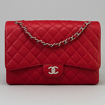 "A red caviar ""Classic Maxi"" handbag by Chanel 2009-2010."