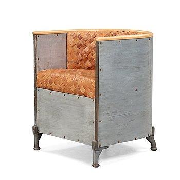 11. Mats Theselius, an 'Aluminiumfåtölj' easy chair upholstered with plaited birch bark, Källemo 1990.