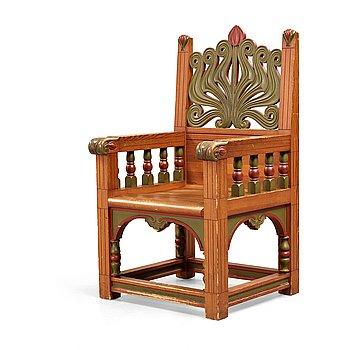108. Svensk formgivare, karmstol, utförd av A. Lagerberg, för Stockholmsutställningen 1897, jugend.