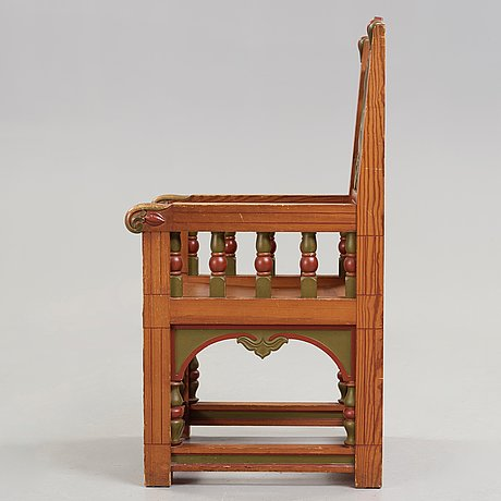 A painted swedish art nouveau chair, executed by a. lagerberg for the 1897 stockholm exhibition.