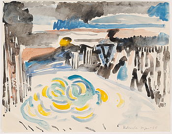 watercolour, not signed, dated 30 jan -55.