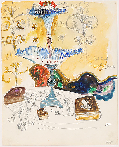 Mixed media, signed with a stamp, and dated 1945.