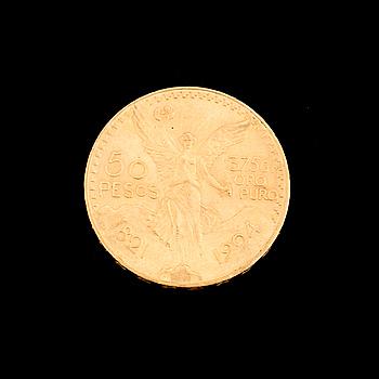 GULDMYNT, 50 Pesos, Mexico 1921-1924. Ca 42 gram.
