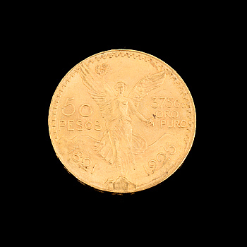 GULDMYNT, 50 Pesos, Mexico 1921-1925. Ca 42 gram.