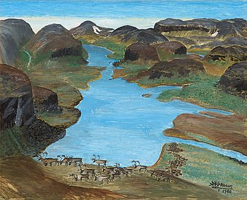 253. Nils Nilsson Skum, Landscape from the North of Sweden with Reindeers.