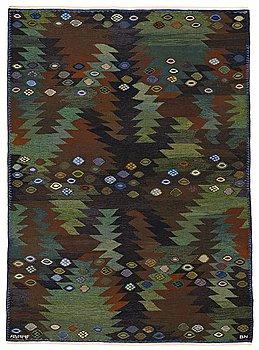 "182. BARBRO NILSSON, MATTA, ""Tånga brun och grön"", gobelängteknik, ca 226,5 x 165 cm, signerad AB MMF BN."