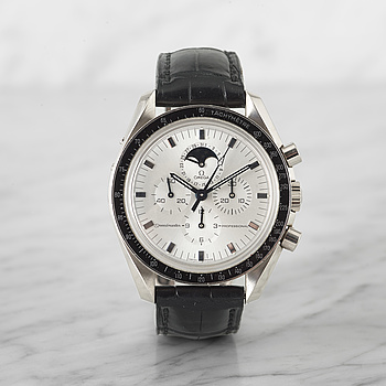 OMEGA, Speedmaster Professional, Apollo 11-30th Anniversary, chronograph, wristwatch, 42 mm, 18K white gold, manual wind, sapphire crystal, date, moonp...