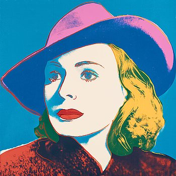 "201. Andy Warhol, ""With Hat""; from: ""Ingrid Bergman""."