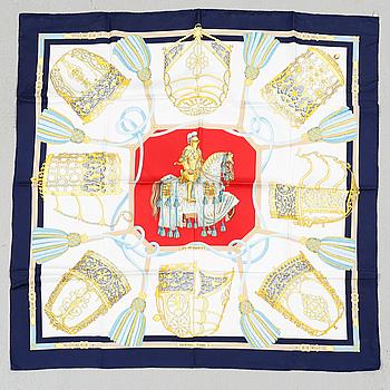 """HERMÈS, scarf, siden, """"Les Muserolles"""", Christiane Vauzelles, Paris."""