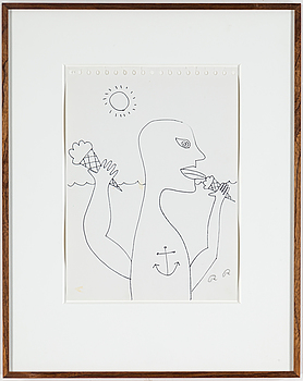 ROGER RISBERG, ROGER RISBERG, indian ink on paper, 1999, signed RR.