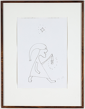 ROGER RISBERG, ROGER RISBERG, indian ink, 2005, signed RR.
