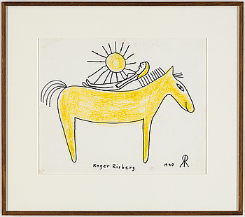 ROGER RISBERG, crayon and indian ink on paper, signed Roger Risberg with monogram and dated 1990.