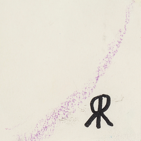 Roger risberg, crayon and indian ink on paper, signed rr with monogram and dated -90.
