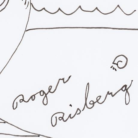 Roger risberg, indian ink on paper, 1999, signed roger risberg.