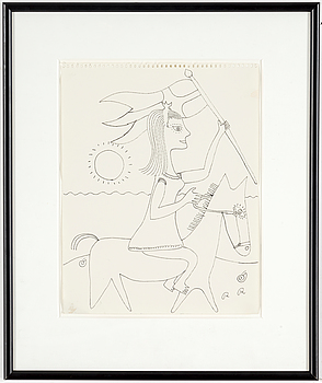ROGER RISBERG, ROGER RISBERG, indian ink on paper, signed RR.