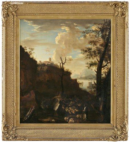 Salvator rosa hans efterföljd, höglänt landskap med byggnader och pilgrim