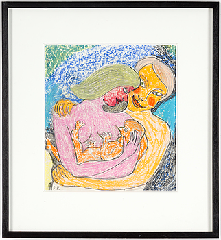 ROGER RISBERG, crayon and pencil on paper, signed RR.