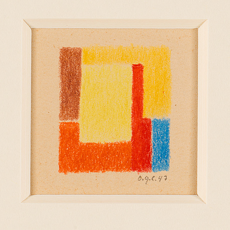 Otto g carlsund, crayon, signed and dated -47.