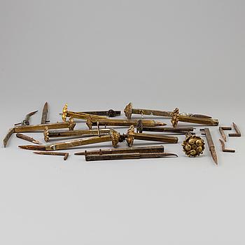 GARDINHÅLLARE, 10 st, förgylld mässing, 1800-talets mitt.