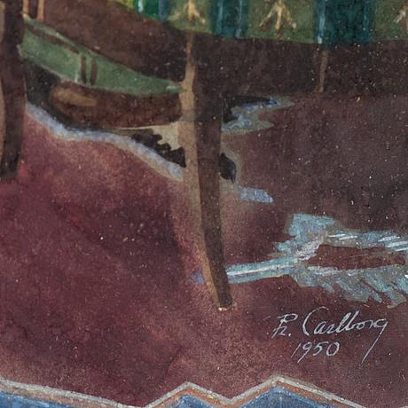 Rudolf carlborg, watercolour, signed r. carlborg and dated 1950.