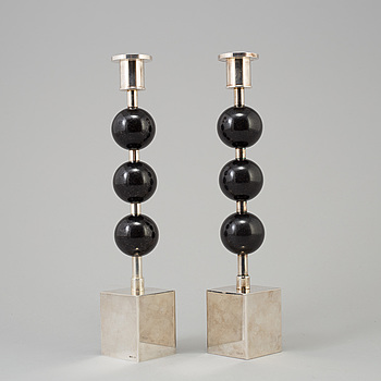 SIGURD PERSSON, SIGURD PERSSON, a pair of silver plate and diabase candle sticks.