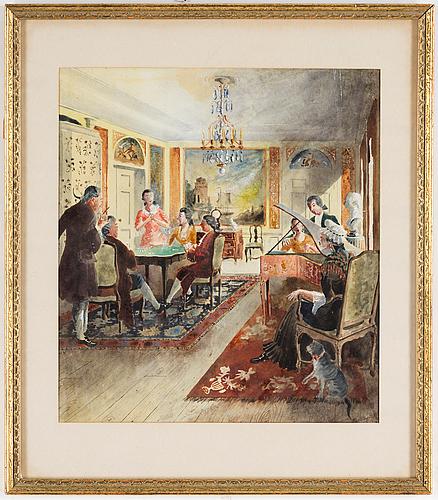 Rudolf carlborg, watercolour, indistinctly signed r. carlborg and dated 1952.