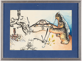ULF RAHMBERG, mixed media, signed with monogram and dated DEC VIII -78.