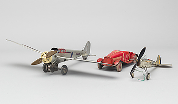 "A COLLECTION OF MECHANICAL TIN TOYS, ONE  Frog Interceptor Fighter  Mark IV"" England 1930'S."