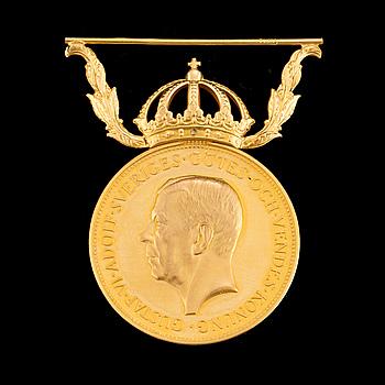 GULDMEDALJ, För nit och redlighet i rikets tjänst. 18 k guld. Vikt 13 gram.