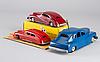 3 swedish toy cars järnehall, enwex and assar 1940's.