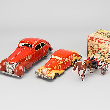 "Mekaniska leksaker, 3 st, bland annat ""arabian"" robert rühl 1950 tal"