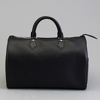 """VÄSKA, Louis Vuitton, """"Speedy 30"""", black epileather med silver hardware, dustbag+kvitto."""