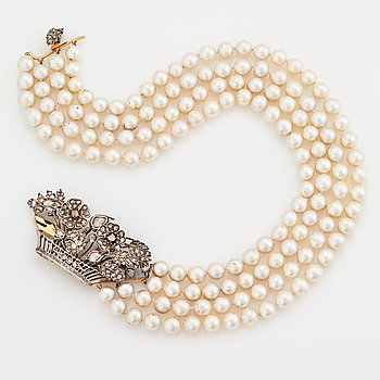 782. A CULTURED PEARL FOUR-STRAND NECKLACE.